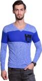 Tsavo Self Design V-neck Casual Men Blue...