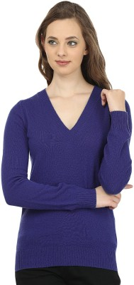 United Colors of Benetton Solid V-neck Casual Women's Blue Sweater