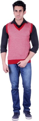 SIOUX Solid V-neck Men's Red, White Sweater