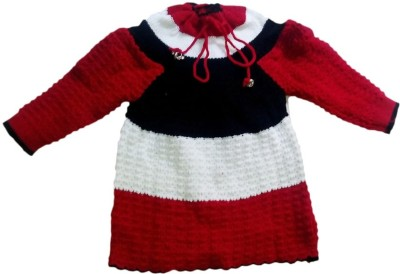 BebzCozzy Woven Round Neck Casual Girl's Red, White, Black Sweater