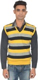 Zhomro Striped V-neck Casual Men Yellow,...