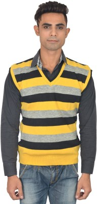 Zhomro Striped V-neck Casual Men,s Yellow, Black Sweater