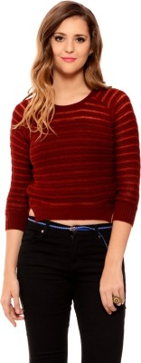 MSMB Solid Round Neck Casual Women's Maroon Sweater