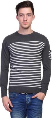 TSAVO Striped Round Neck Casual Men's Grey Sweater