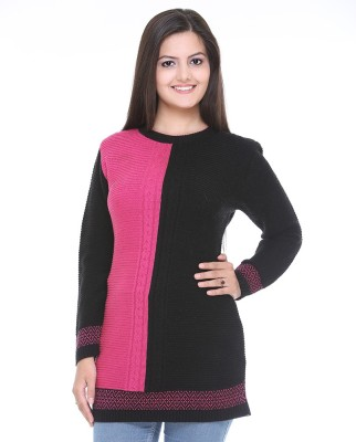 Cee-For Striped Round Neck Casual Women's Black, Pink Sweater