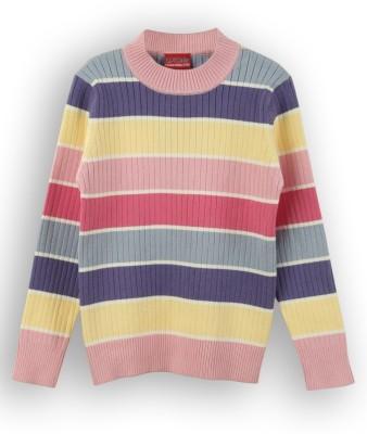 Lilliput Striped Round Neck Girl's Multicolor Sweater