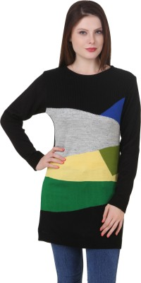 Spink Self Design Round Neck Women's Black Sweater