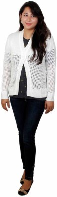 Fashion Mind Solid V-neck Women's White Sweater