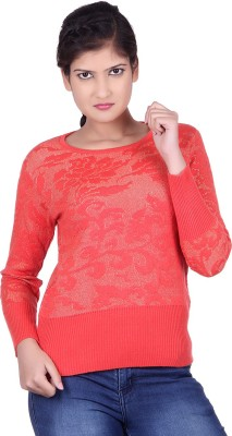 Spink Self Design Round Neck Casual Women's Orange Sweater