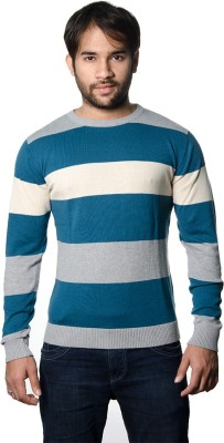 AMX Striped Round Neck Casual Men's Grey Sweater