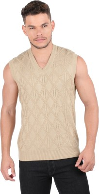 Oxemberg Checkered V-neck Casual Men's Beige Sweater