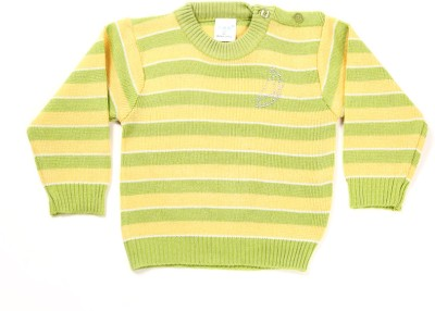 Zonko Style Striped Round Neck Casual Boy's Yellow, Green Sweater