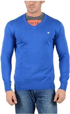 Reveller Solid V-neck Casual Men's Blue Sweater