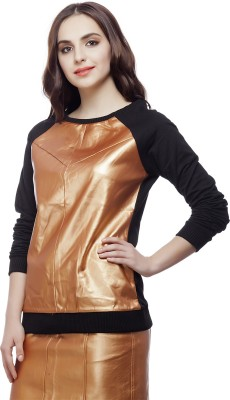 August Street Solid Round Neck Party Women's Black Sweater