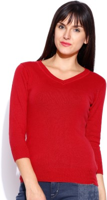 Manola Solid V-neck Casual Women's Red Sweater
