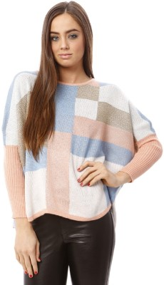 Lioness Printed Round Neck Party Women's Pink Sweater