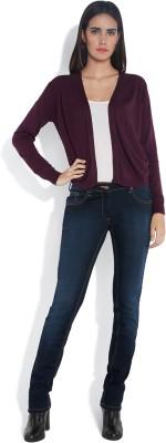 Park Avenue Solid Round Neck Women's Purple Sweater