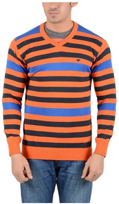 Reveller Striped V-neck Casual Men's Orange Sweater