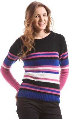 Prym Self Design Round Neck Casual Women's Blue Sweater