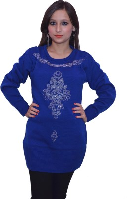 Lovanyaa Solid Round Neck Women's Blue Sweater