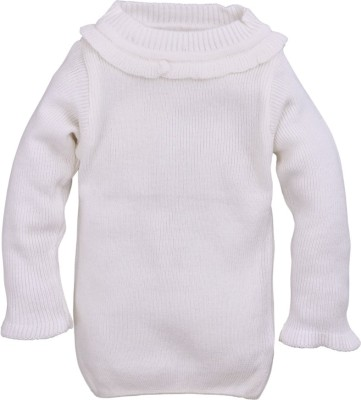 RVK Solid Round Neck Casual Girl's White Sweater