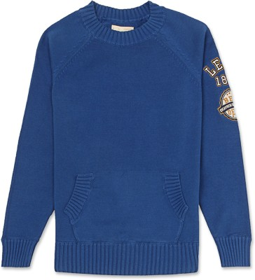 Levi's Solid Round Neck Casual Girl's Blue Sweater