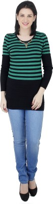 Camey Striped Round Neck Casual Women's Green Sweater
