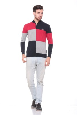 Pro Riders Striped Turtle Neck Casual Men's Red, Grey, Black Sweater