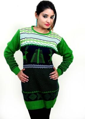 Laadli Ji Printed Round Neck Women,s Green Sweater