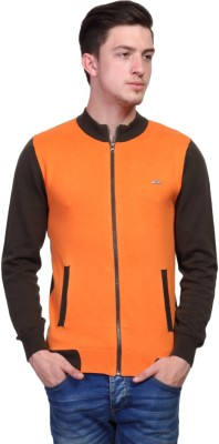 TSAVO Solid Round Neck Casual Men's Orange Sweater