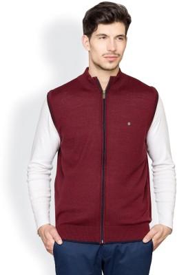Blackberrys Solid Round Neck Formal Men's Maroon Sweater