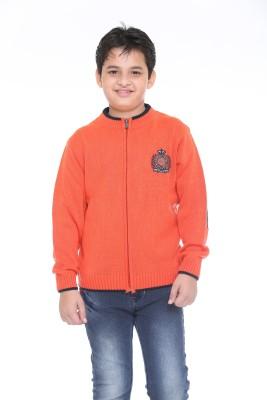 Superkids Solid Round Neck Casual Boy's Orange Sweater