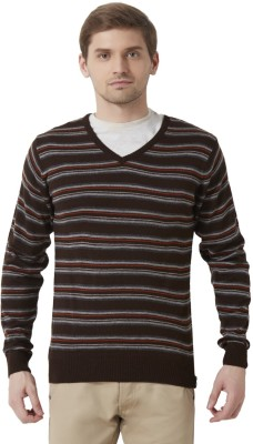 Peter England Striped V-neck Casual Men's Brown Sweater