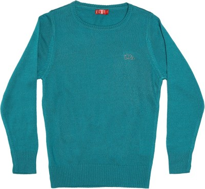 Elle Self Design Round Neck Casual Girl's Blue Sweater