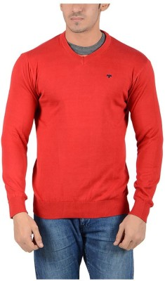 Reveller Solid V-neck Casual Men's Red Sweater