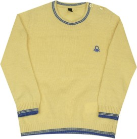 United Colors of Benetton Solid Round Neck Casual Boys Yellow Sweater