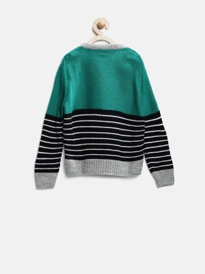 Yk Self Design Round Neck Baby Girl,s Green Sweater