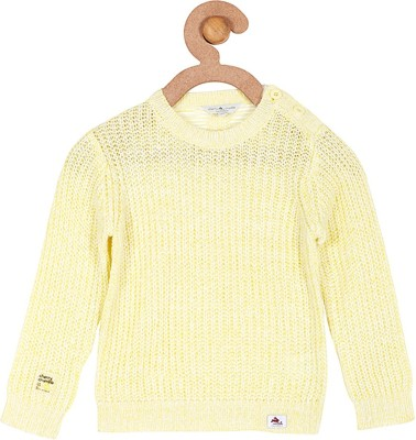 Cherry Crumble California Solid Round Neck Casual Boys Yellow Sweater