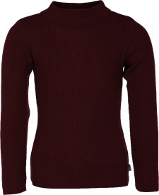 AJ Dezines Solid Round Neck Casual Boys Maroon Sweater