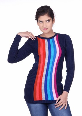 Spink Solid Round Neck Casual Women's Blue Sweater