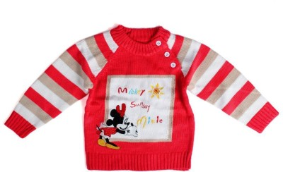 BabyBucket Printed Round Neck Baby Boy's Red Sweater