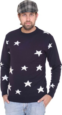 CLUB YORK Solid Round Neck Casual Men's Dark Blue Sweater