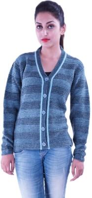 Pazaro Self Design V-neck Casual Women,s Blue Sweater