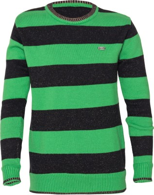 Status Quo Cubs Striped Round Neck Casual Boy's Reversible Green, Black Sweater