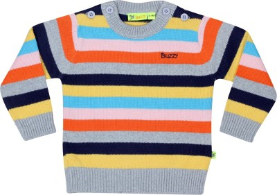 Buzzy Striped Round Neck Casual Baby Boy's Multicolor Sweater