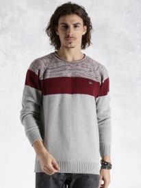 Roadster Self Design Round Neck Casual Men Grey Sweater