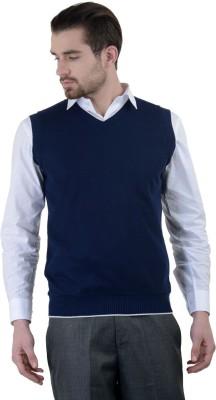 Gdivine Solid V-neck Casual, Formal Men's Dark Blue Sweater