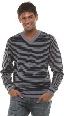 Fashion My Day Striped V-neck Casual Men's Black, Grey Sweater