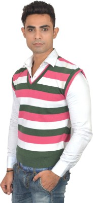 Zhomro Striped V-neck Casual Men,s Pink, Green Sweater