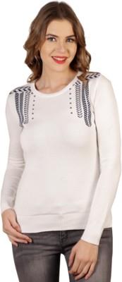 Aussehen Printed Round Neck Casual Women's White, Blue Sweater